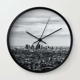 Los Angeles Skyline Black and White Wall Clock
