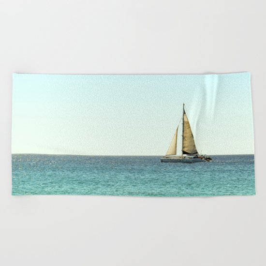 Sail Away with Me - Ocean, Sea, Blue Sky and Summer Sun Beach Towel