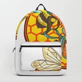 Bumblebee Carrying Honey Pot Beehive Circle Backpack