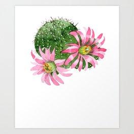 Cactus Watercolor Light Pink Blooms Cactus Art Print