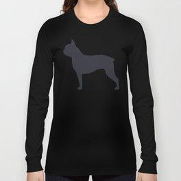 boston terrier silhouette Long Sleeve T-shirt