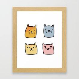 Cute Cat Doodle Set Framed Art Print