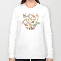 ikat Long Sleeve T-shirts featuring deer horse ikat party by Sharon Turner