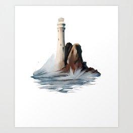 Lighthouse Light House Ocean Rocks and Waves Art Print