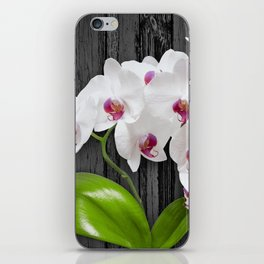 White Orchids On Wood Bark iPhone Skin