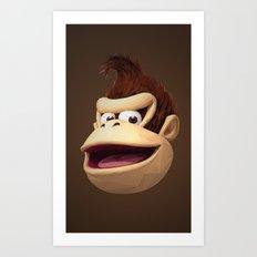Triangles Video Games Heroes - Donkey Kong Art Print