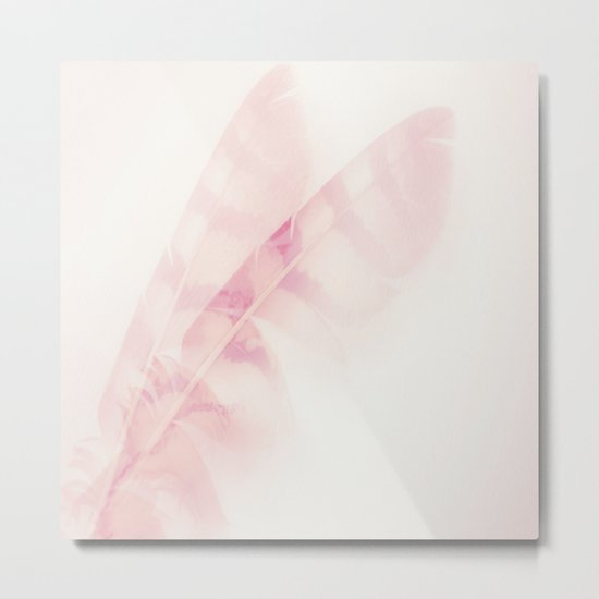 Pink feathers on a soft pastel background - beautiful and dreamy Metal Print