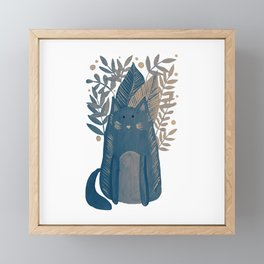 Cat and foliage - neutral palette Framed Mini Art Print