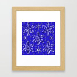 DP044-10 Silver snowflakes on blue Framed Art Print