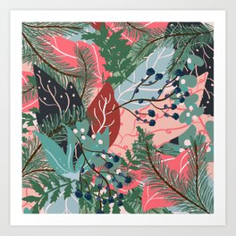 modern christmas abstract floral illustration pink blue green pattern Art Print