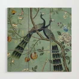 A Teal of Two Birds Chinoiserie Wood Wall Art