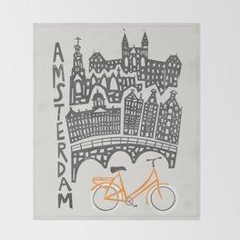 Amsterdam Cityscape Throw Blanket