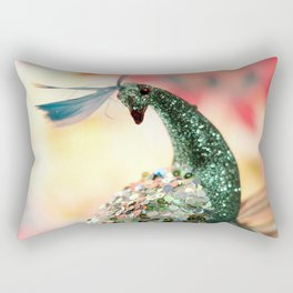 Peacock in Pink Rectangular Pillow