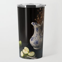 Green apples and china still life Travel Mug