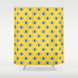 Spooky eyes (yellow pattern) Shower Curtain