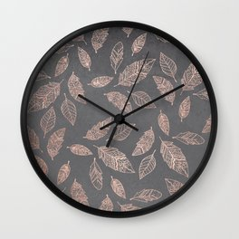 Rose gold hand drawn boho feathers hand drawn grey industrial concrete cement Wall Clock