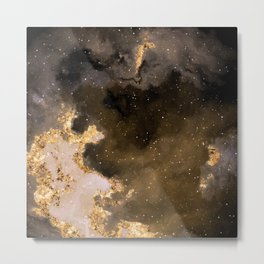 100 Starry Nebulas in Space Black and Gold 035 (Square) Metal Print