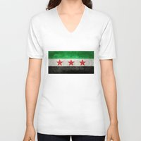 """islam V-neck T-shirts featuring The Syrian """"independence flag""""  retro style version by Bruce Stanfield"""