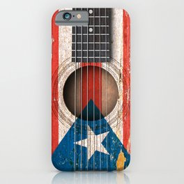 Old Vintage Acoustic Guitar with Puerto Rican Flag iPhone Case