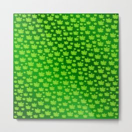green metal shiny maple leaf on shimmering texture Metal Print