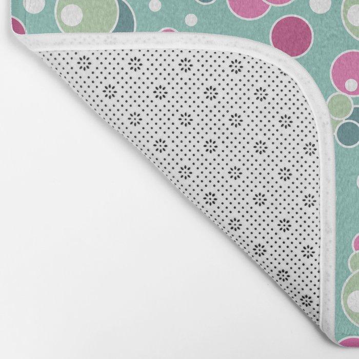 Retro. Multi-colored polka dots . Bath Mat