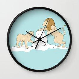 Snow Lions Wall Clock