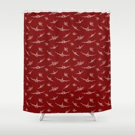 Airplanes on Burgundy Shower Curtain