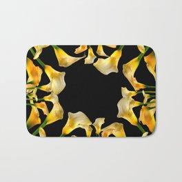 Golden Calla Lilies Black Garden Art Bath Mat