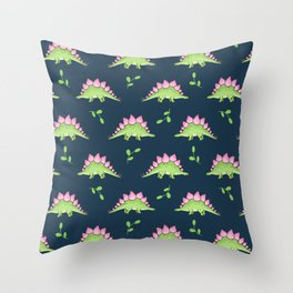 Green and Pink Stegosaurus Dinosaur on navy with leaves Throw Pillow