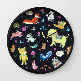 Colorful animals Wall Clock