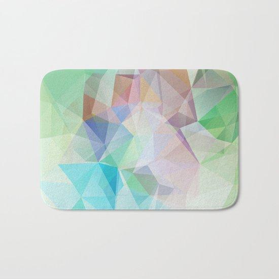 Delicate green polygonal pattern . Bath Mat
