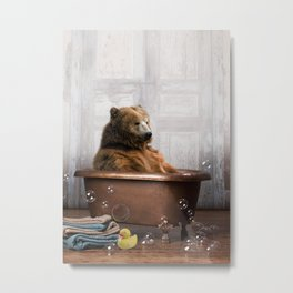 Bear with Rubber Ducky in Vintage Bathtub Metal Print