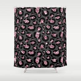 Black & Rose Gold Leopard Print Glitter Shower Curtain