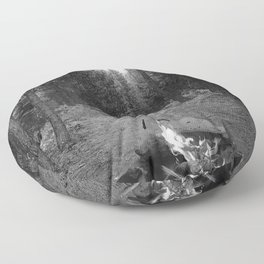 Backpacking Camp Fire B&W Floor Pillow