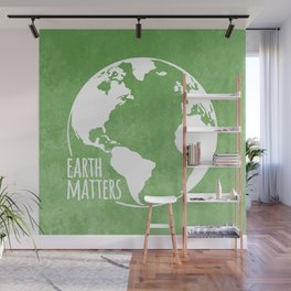 Earth Matters - Earth Day - White Outline On Green Grunge 01 Wall Mural