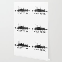NY New York City Skyline NYC Black-White Watercolor art Wallpaper