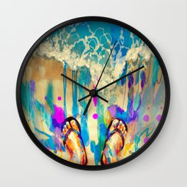 colorful feet with flip flops on sandy beach Wall Clock