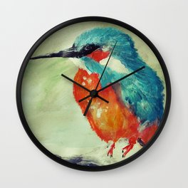 Kingfisher British Wildlife Acrylic Fine Art Wall Clock
