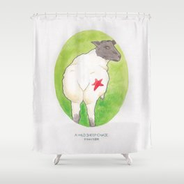 Haruki Murakami's A Wild Sheep Chase // Illustration of a Sheep with a Red Star in Watercolour Shower Curtain