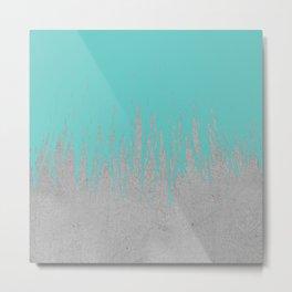 Concrete Fringe Turquoise Metal Print