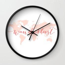 Wanderlust, coral world map Wall Clock