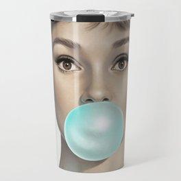 Contemporary Print - Big Blue Bubble Gum Bubble Being Blown by Audrey Hepburn Colour Picture Poster Art Artwork Modern Travel Mug