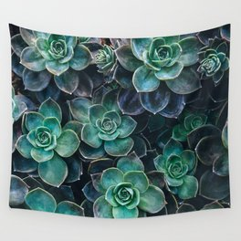 Succulent Blue Green Plants Wall Tapestry