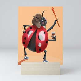 Cutie Bug with Coffee and Scepter Mini Art Print