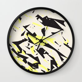 pressed linen with black & yellow /geometric series Wall Clock