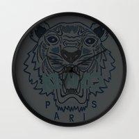 kenzo Wall Clocks featuring Kenzo Tiger Dark Blue by cvrcak
