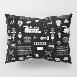 Railroad Symbols on Black Pillow Sham