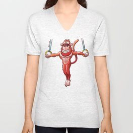 Olympic Flying Rings Monkey Unisex V-Neck