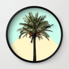 Palm Tree on Cyan and Lemon Wall Wall Clock