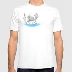 Rabbit in an island Mens Fitted Tee MEDIUM White